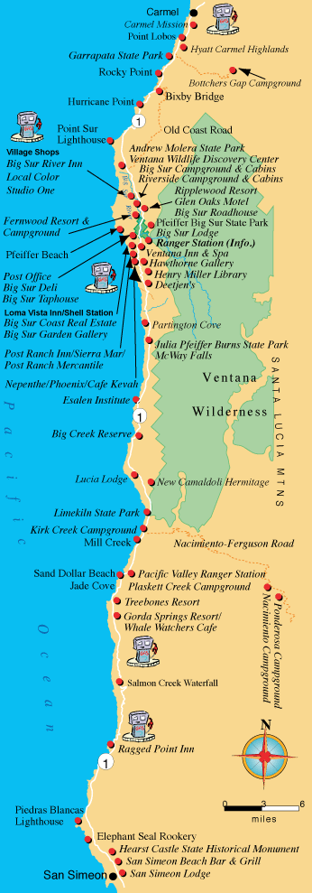 Map courtesy of Big Sur Chamber of Commerce
