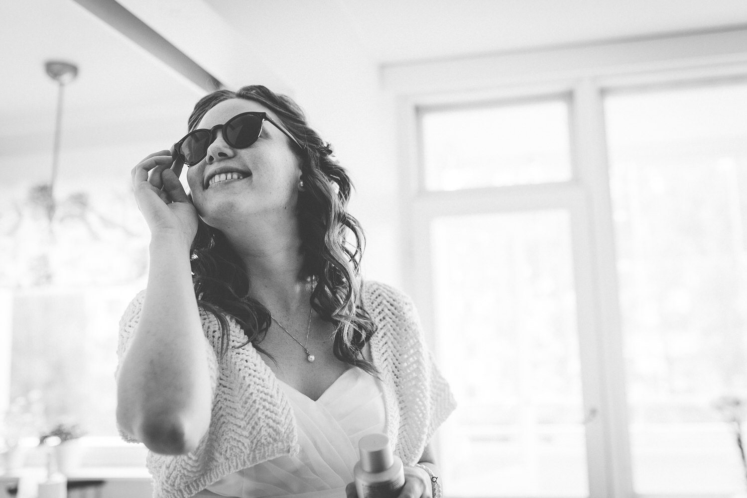 bride wearing sunglasses shades