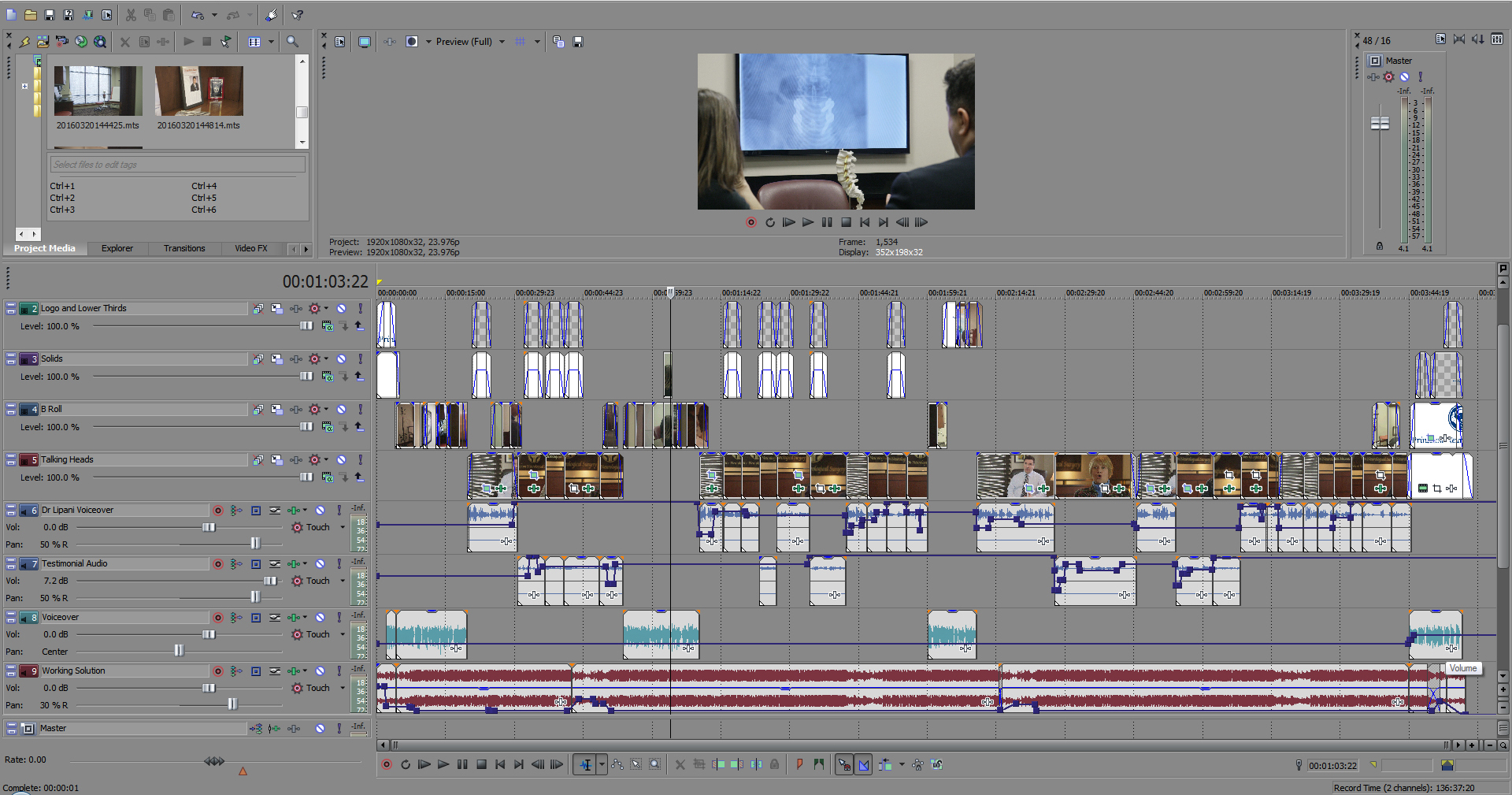 Here's what a testimonial video looks like to us on the backend. Complete with logos, soundtrack, interview audio, testimonial audio, titles and more.