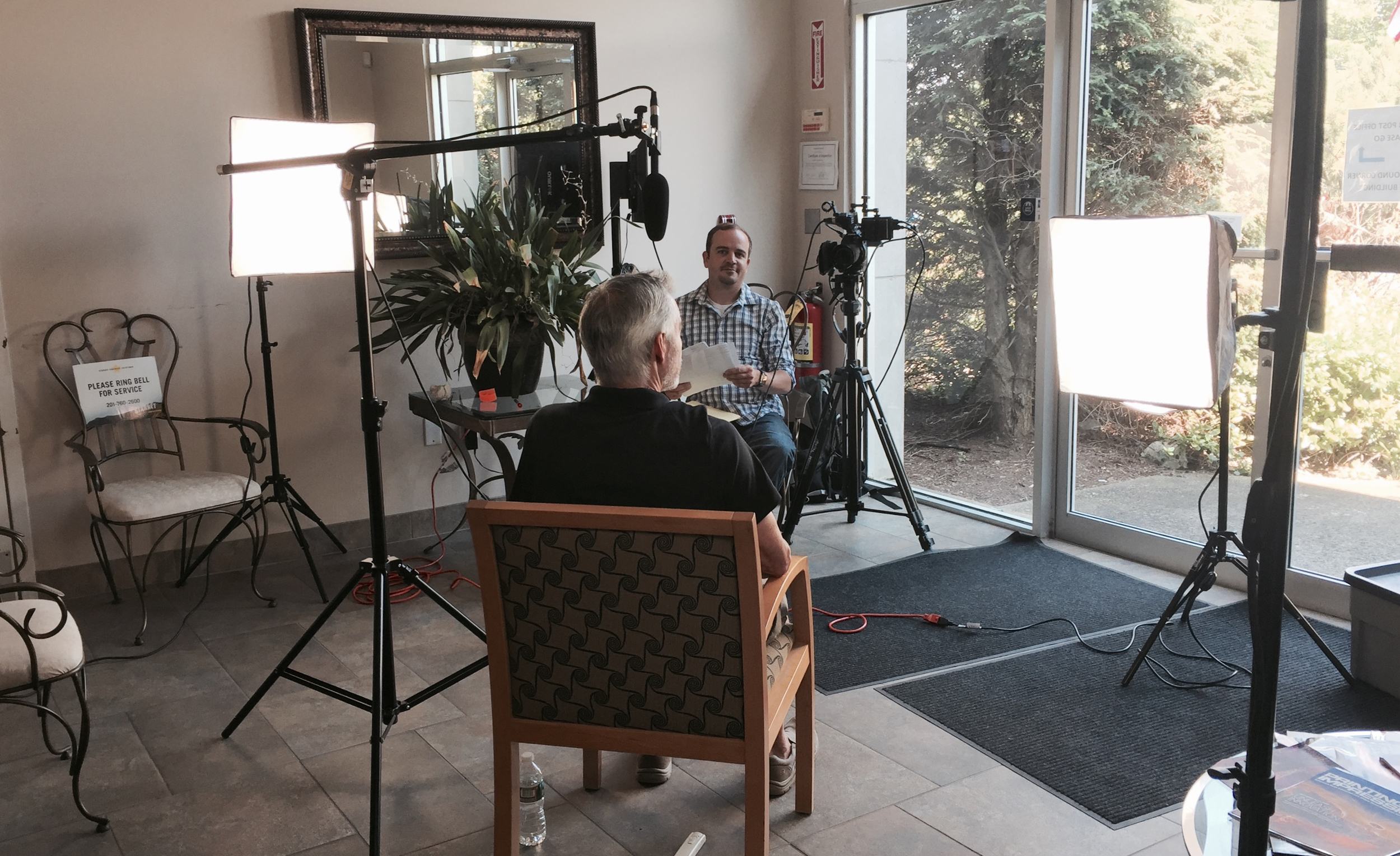 Video production has a lot to do with knowing how to use light. We're using these big windows which are providing amazing interview lighting with just a little help from our lights.