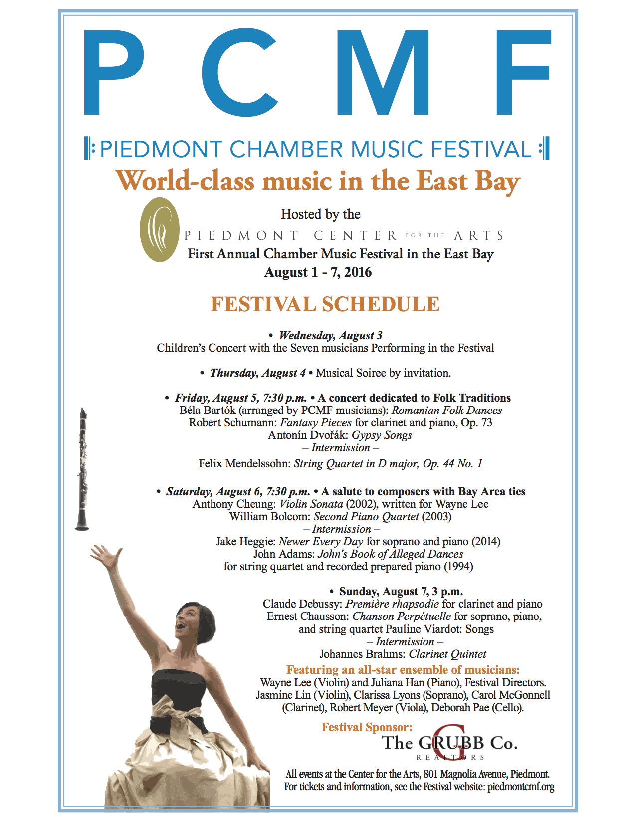 August 1-7<br>The Piedmont Chamber Music Festival<br> — Piedmont