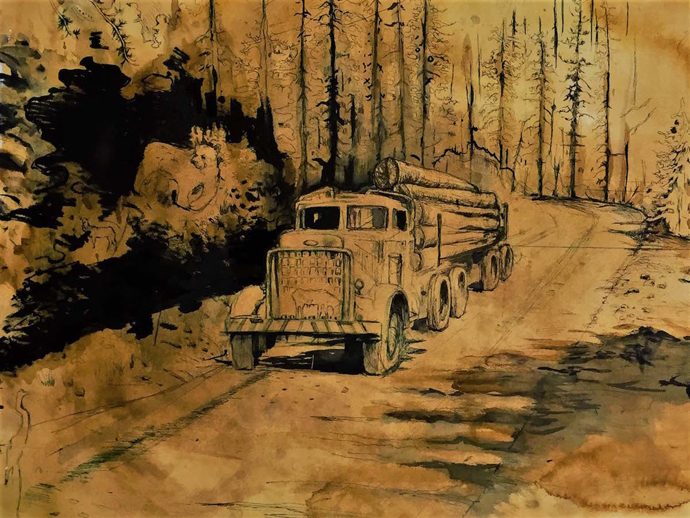 Tastes of Americana , Archival ink on Archival Watercolor, 4x4'(ft)  (featured in Museum of Northern California)