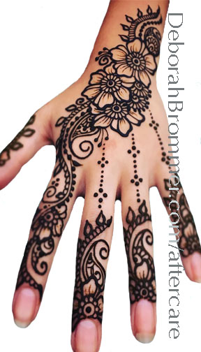 HENNA:  - 1. Be Careful not to smudge your henna while it is wet!  Henna stains wherever it touches you... if its in the shape of a smear, thats what your design will look like!2. Leave the paste on for 4 to 8 hours.  If the weather is warm, and your henna is on your hands or feet (where it gets darkest) then you can stay more on the 4 hour end.... but if it's not HOT out and if your design is anywhere other than hands and feet you'll want to aim for 6 to 8 hours.3. Keep it dry!  When its time to remove the henna paste make sure you scrape it off, don't get it wet.  You'll get best results if you can keep it away from water for the first 24 hours.  If the paste is difficult to remove use a little olive oil or lemon juice to