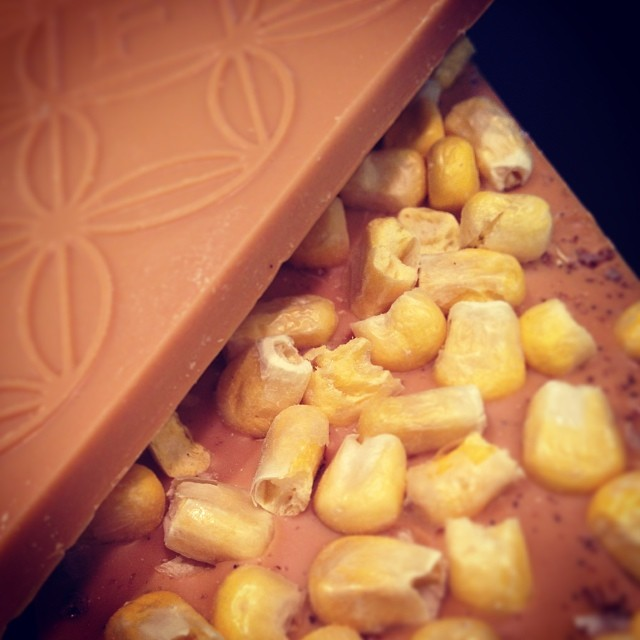Caramel corn bars, aka toasted white chocolate with freeze-dried corn and vanilla salt