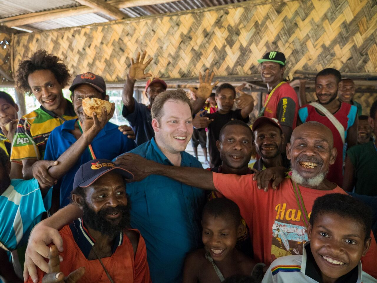 Brad with farmers in Papua New Guinea