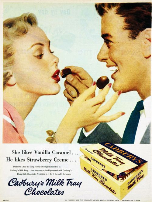 A 1957 Cadbury advertisement promoting chocolate and romance