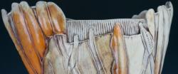 """Gina Freuen - Detail Image of large vase titled """"DayLily Vase."""""""