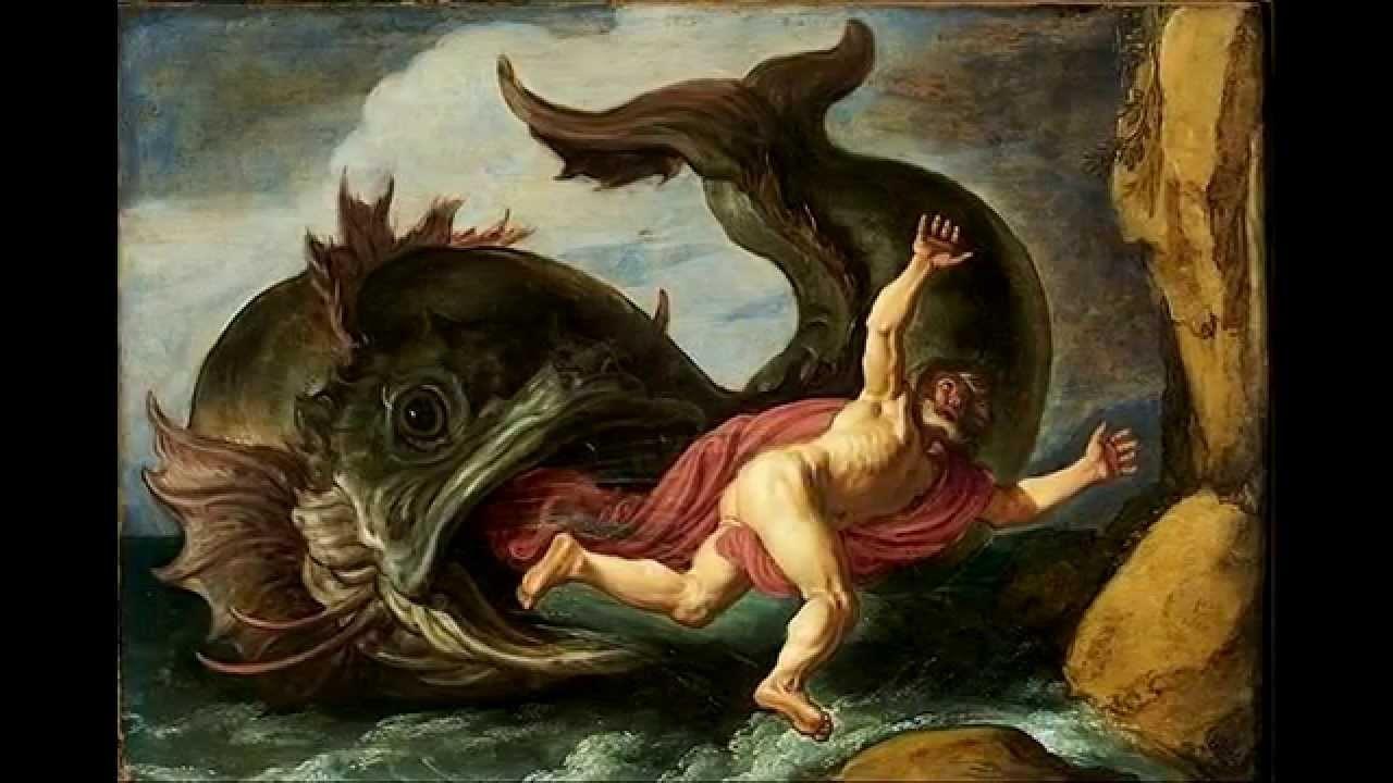 大きな魚に飲み込まれるヨナ