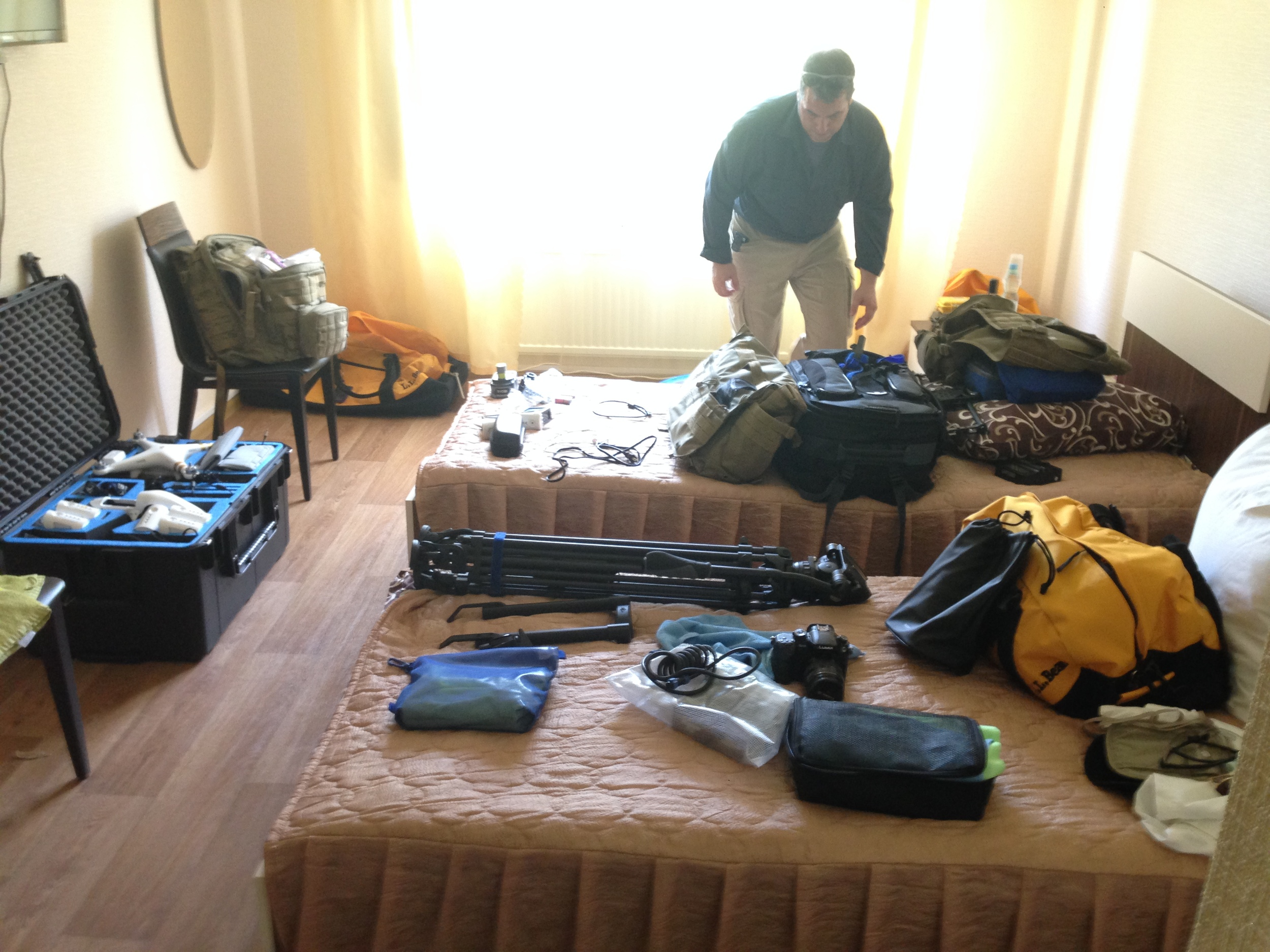 Organizing gear in our room at Hotel 10.