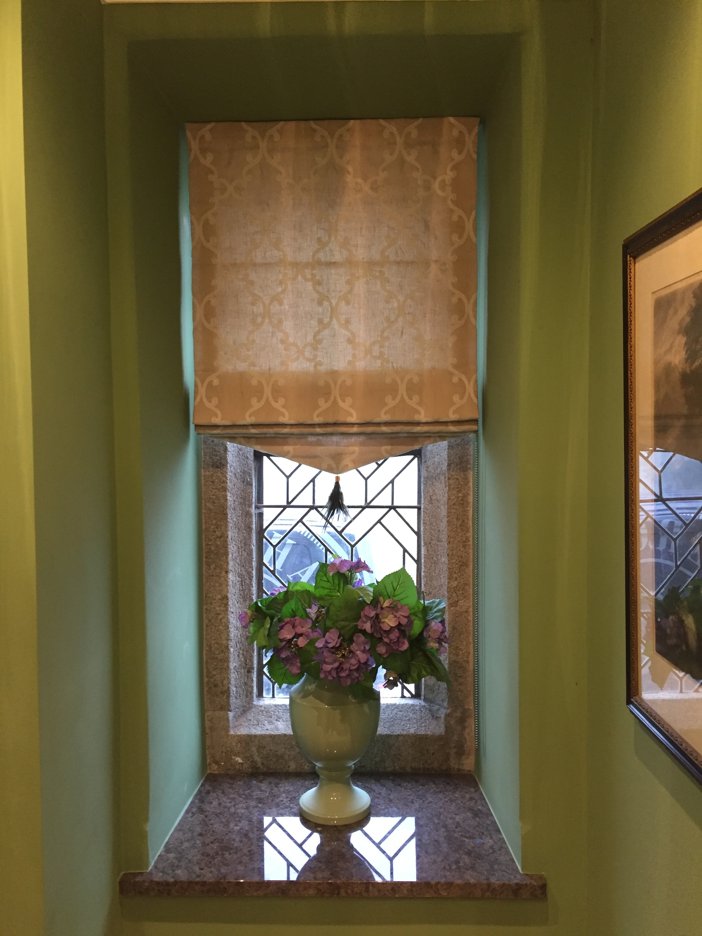 Roman blind with shaped bottom in Anna French Fabric, handmade feather tassle