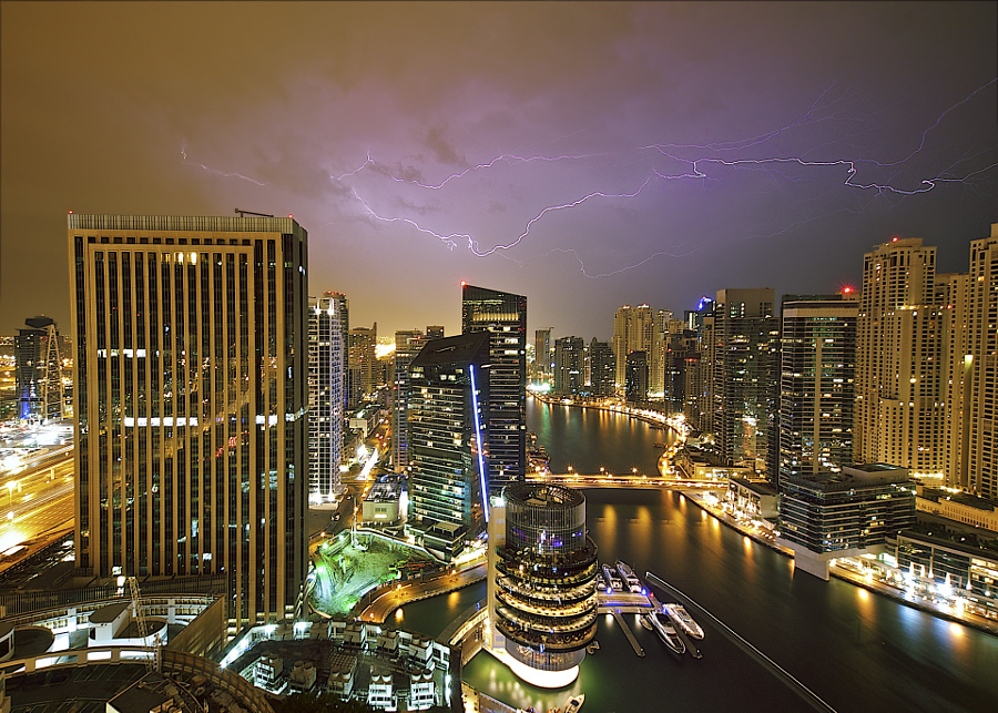 Lightning Over Dubai Marina