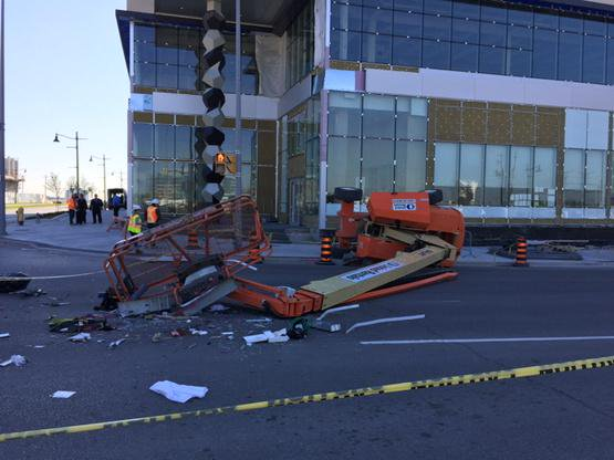 One man was killed after falling 25 feet and another was injured when this lift tipped over while in use.