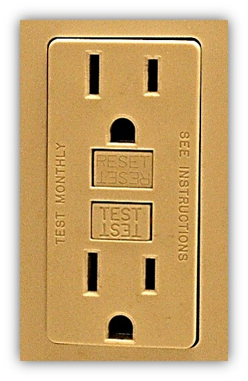 GFCI Outlet with test and reset buttons.