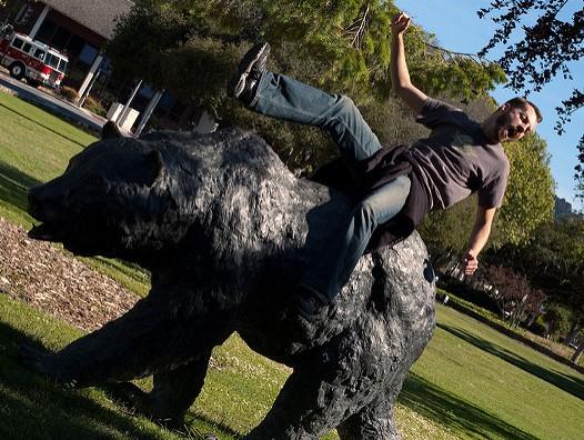Riding a bear also poses fall hazard risks... (click photo for original link)