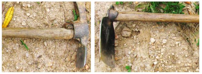 Both of these tools have cracked handles and show signs of job-made repairs that make them a hazard.