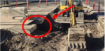 The concrete road could be considered a surface encumbrance. Note the excavation under the road requires support.