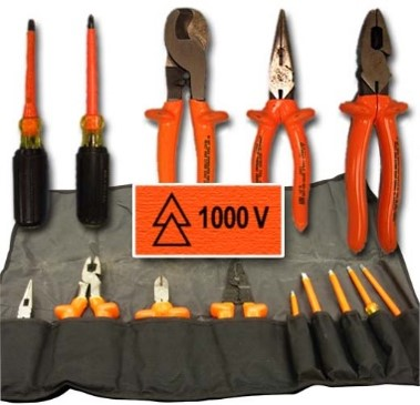 Example of voltage rated insulated tools used on electrical equipment.