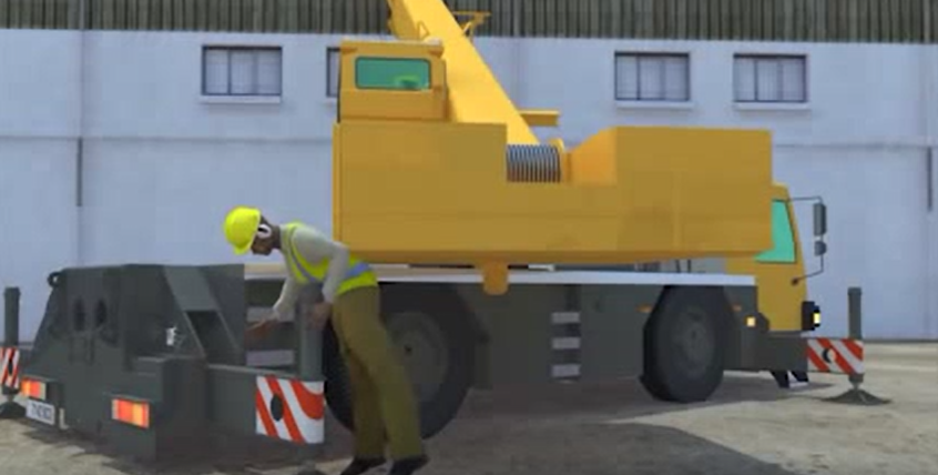 Excerpt from OSHA.gov video showing the dangers of working near moving cranes. A worker was fatally wounded when he was caught between the moving body of the crane and the out riggers.