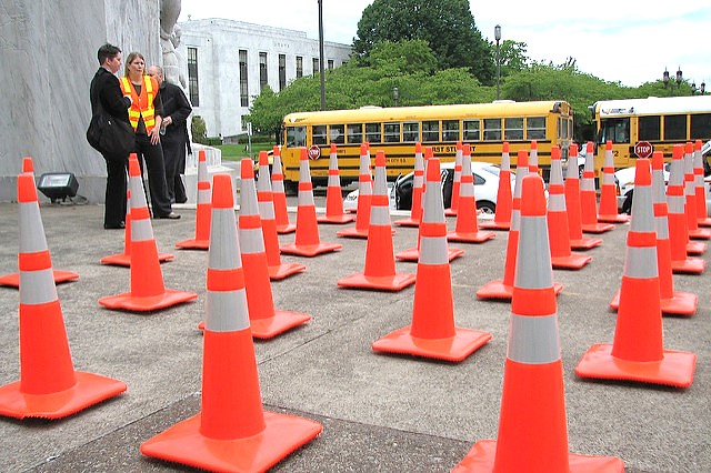97 cones were set up on the front steps of the State Capital, representing the number of people who have been killed in Oregon work zones over the past 10 years.