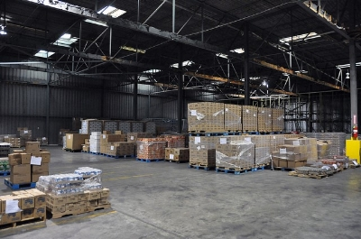 Warehouse with good housekeeping and a designated aisle way.