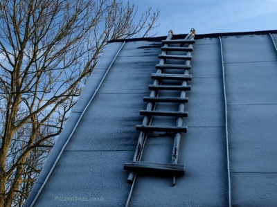 This makeshift fixed ladder is not properly constructed and is visibly damaged.