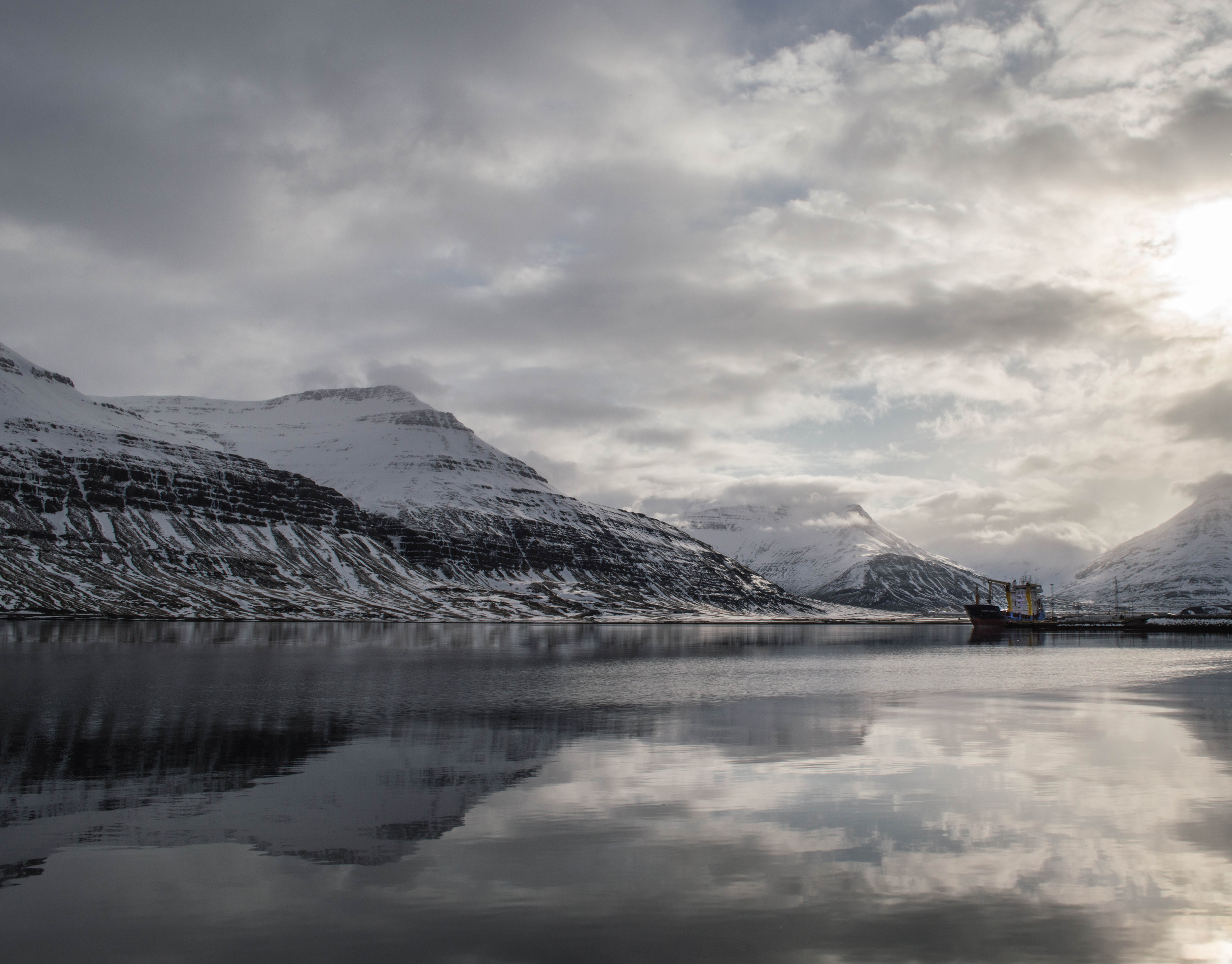 Fjords near the southeastern coast of Iceland.