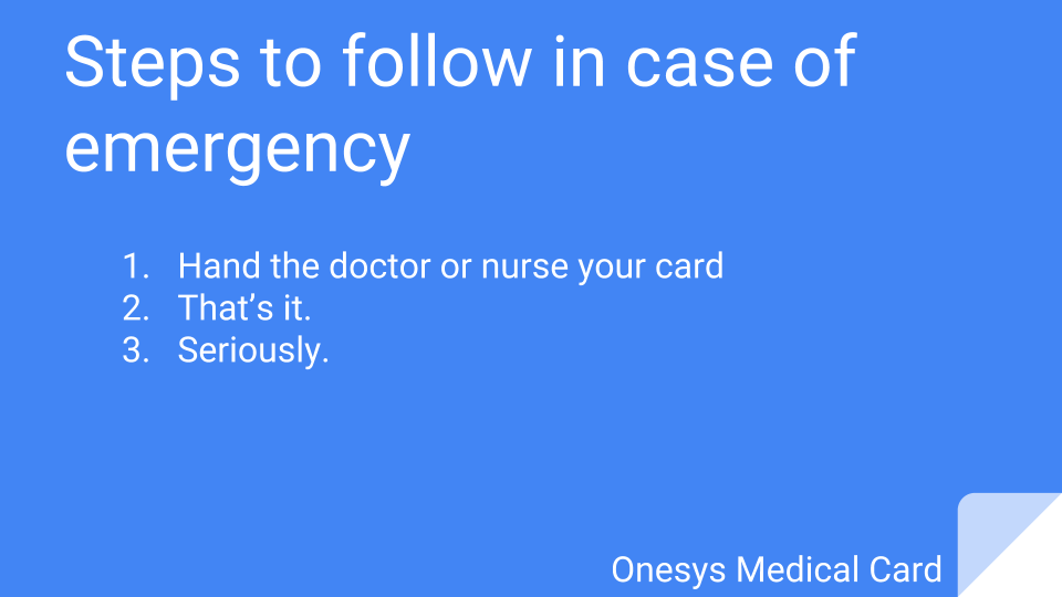 Onesys Medical Card Emergency