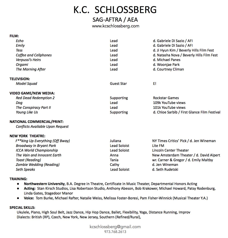 KC Schlossberg Resume 2019