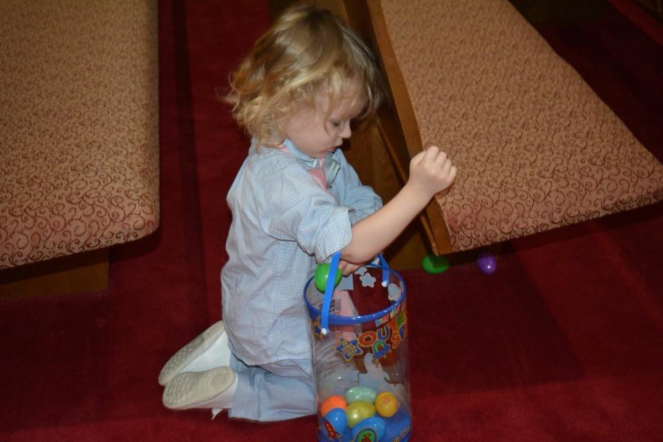 Zadd filling his easter basket