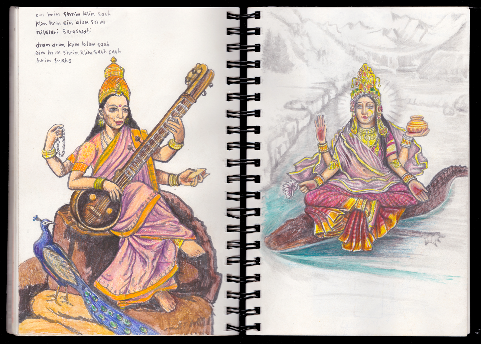 Saraswati and Ganga