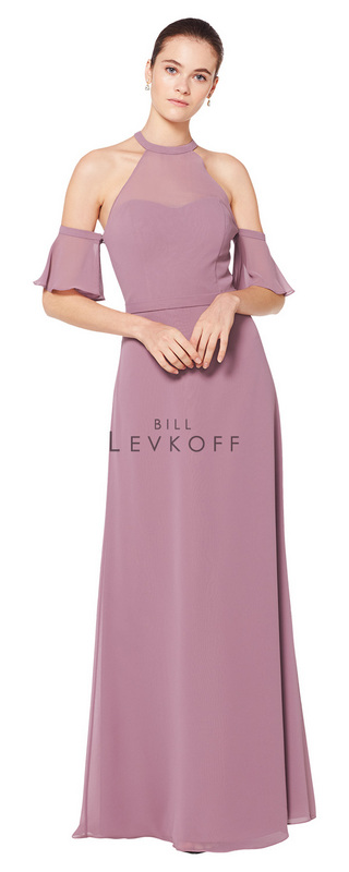 1601 -  Chiffon halter top gown with illusion top over sweetheart neckline and keyhole back. Off the shoulder detachable flutter sleeves. Slight A-line skirt.      Available in 43 colors