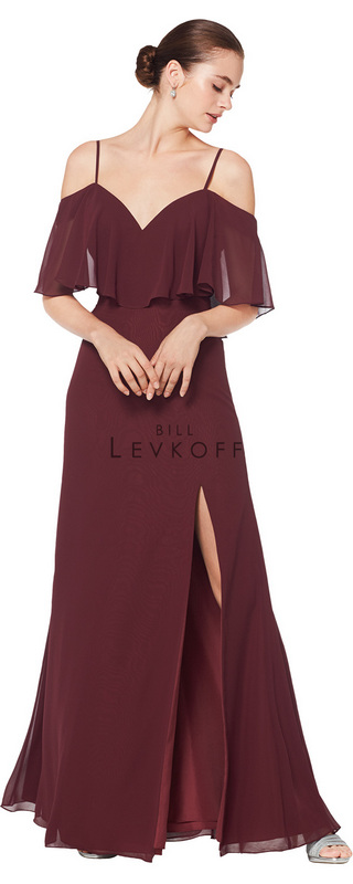 1606 -  Chiffon off the shoulder sweetheart spaghetti strap gown with ruffle bodice. A-line skirt with front off-center slit.      Available in 43 colors