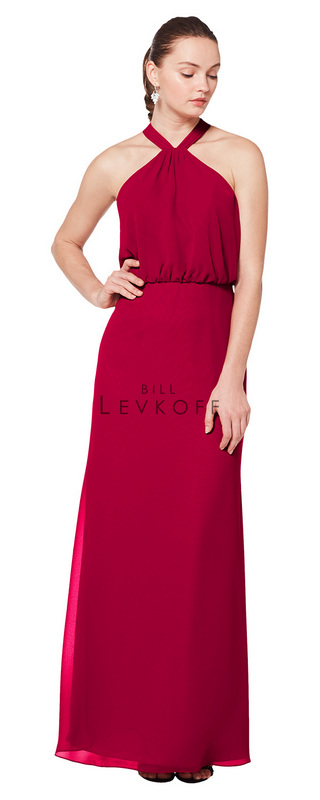 1607 -  Chiffon halter gown with a blouson bodice and keyhole back. A-line skirt.      Available in 43 colors