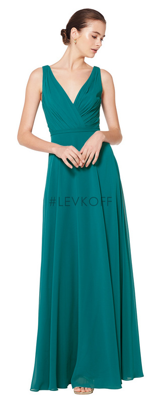 7078 -  Chiffon sleeveless gown with V-neck front and back. Asymmetrical gathers adorn the bodice. Self band at the natural waist. A-line skirt.      Available in 43 colors