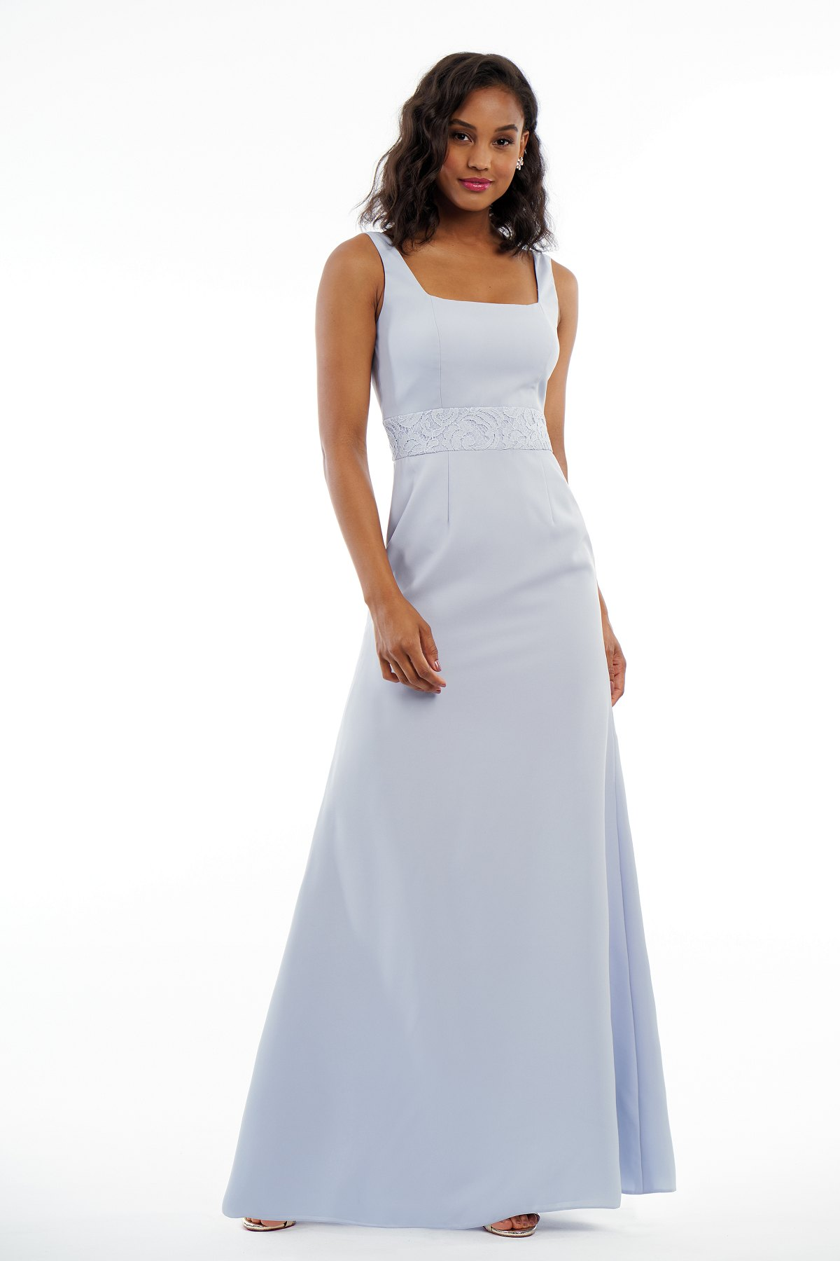 P216014 -  Simple soft crepe and lace floor length bridesmaid dress with a square neckline and thin cross straps on the back.    Available in 12 colors