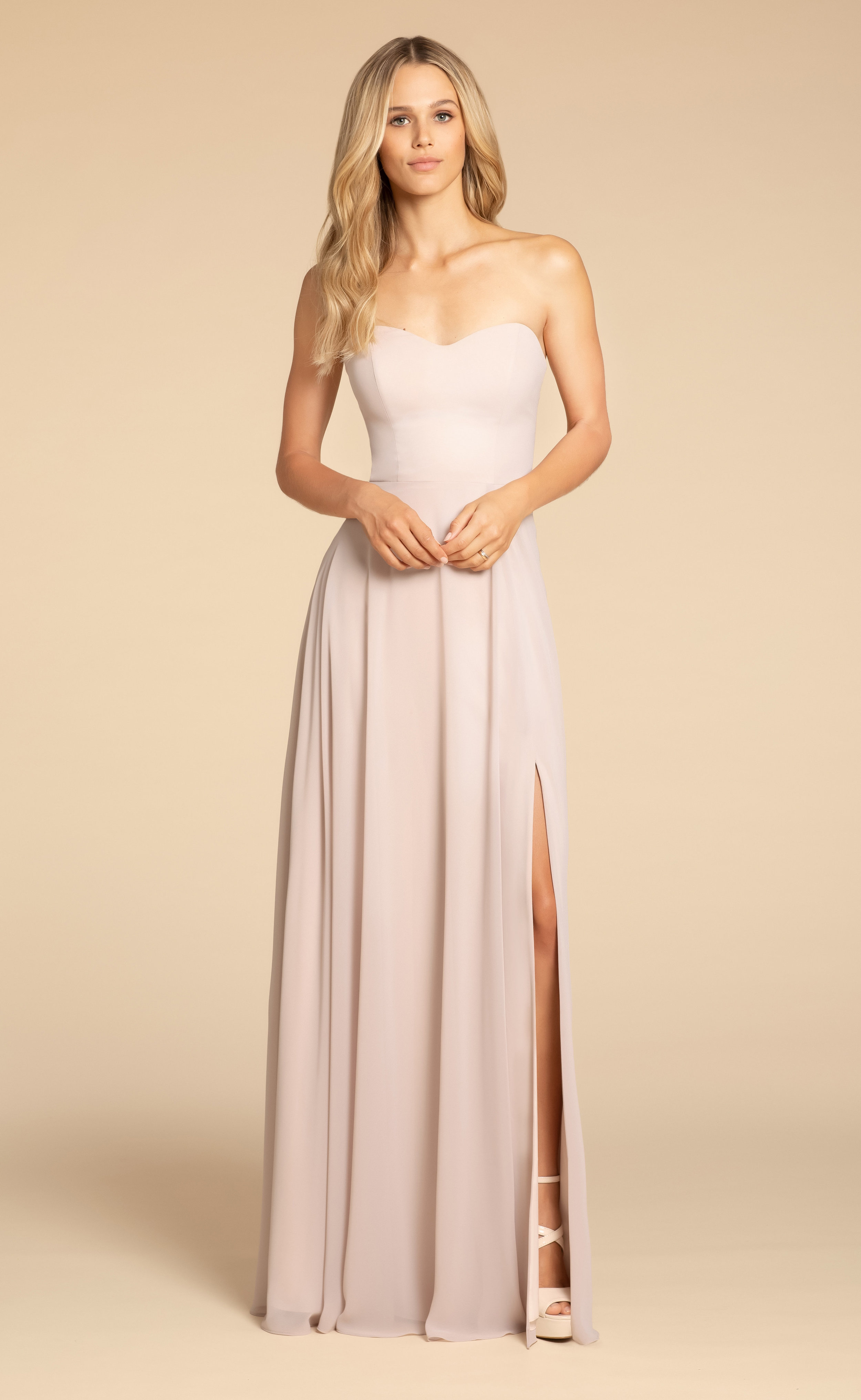5902 -  Hayley Paige Occasions bridesmaids gown - Candlelight chiffon A-line gown, sweetheart strapless neckline, keyhole back detail, natural waist, slit at front.    Available in 22 colors