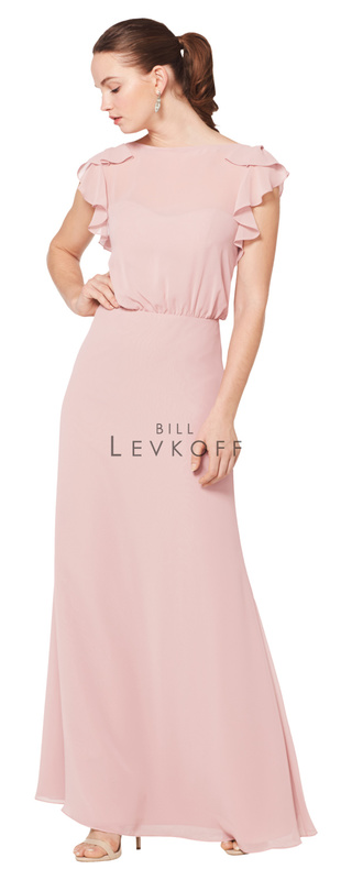 1602 -  Chiffon blouson bodice with a bateau neckline and ruffle flutter cap sleeves. V-back with ruffle trim. A-line skirt.    Available in 42 colors