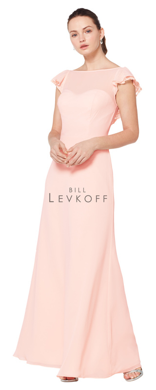 1611 -  Chiffon gown with a bateau neckline. Ilussion top over a sweetheart neckline. Chiffon and lace flutter cap sleeves. V-back with ruffle chiffon and lace trim. A-line skirt.    Available in 13 colors