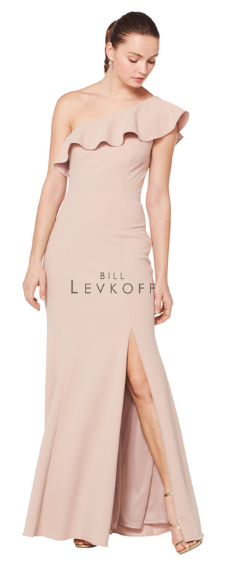 1620 -  Stretch Crepe one shoulder ruffle trim gown. Off-center front slit.    Available in 10 colors