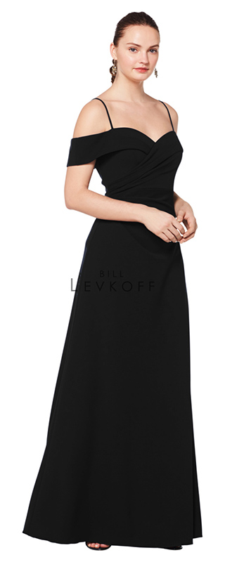 1622 -  Stretch Crepe off-the-shoulder portrait neckline gown with spaghetti straps. Soft criss cross gathers. A-line skirt.    Available in 10 colors