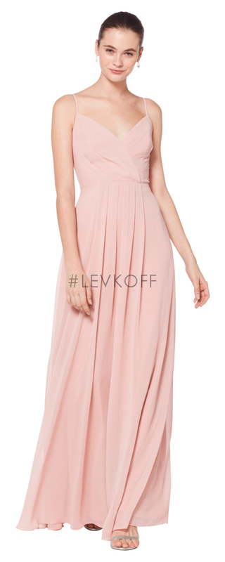 7072 -  Chiffon spaghetti strap V-neck gown. Asymmetrical pleats adorn the bodice. Front pleats adorn the A-line Skirt.    Available in 42 colors