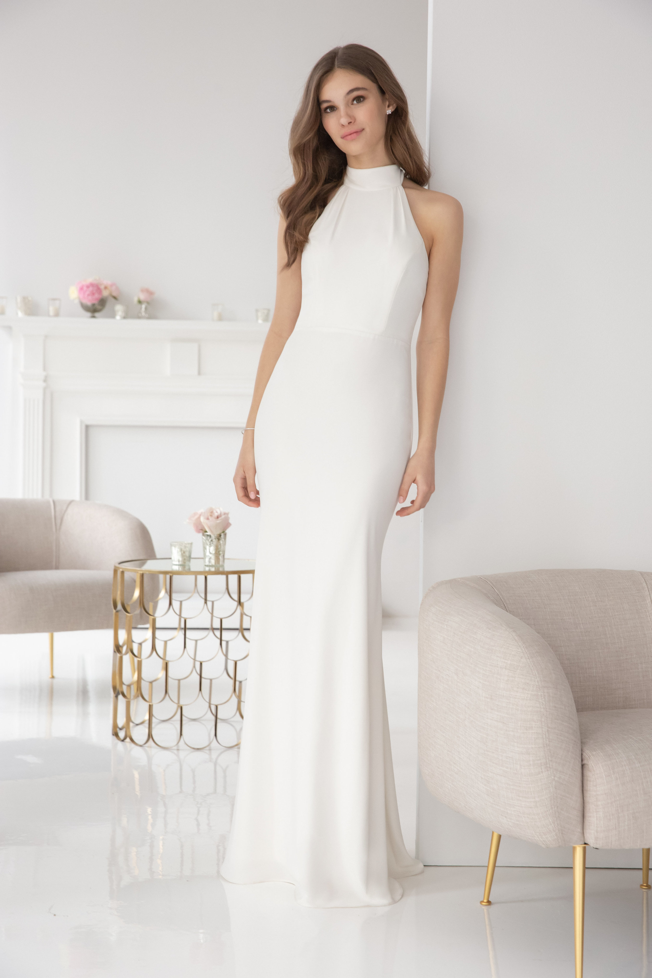 5900 -  Hayley Paige Occasions bridesmaids gown - Ivory crepe A-line gown, racer mock turtleneck, natural waist, strap detail at back.      Available in 7 colors