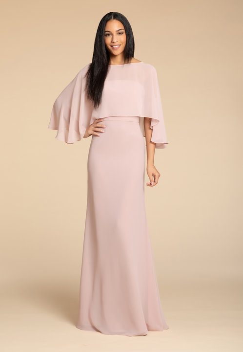5906 -  Hayley Paige Occasions bridesmaids gown - Dusty Rose chiffon A-line gown, curved strapless bodice, natural waist. Removable cape.      Available in 22 Colors