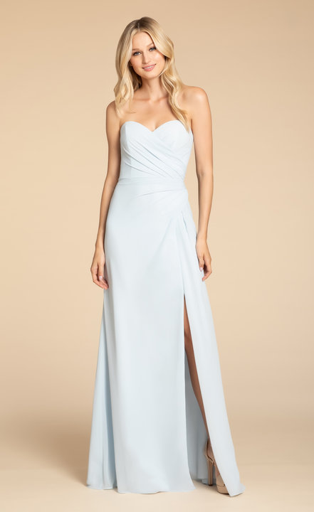 5913 -  Hayley Paige Occasions bridesmaids gown - Oasis chiffon A-line gown, strapless sweetheart neckline, draped bodice and skirt, front slit.      Available in 22 colors