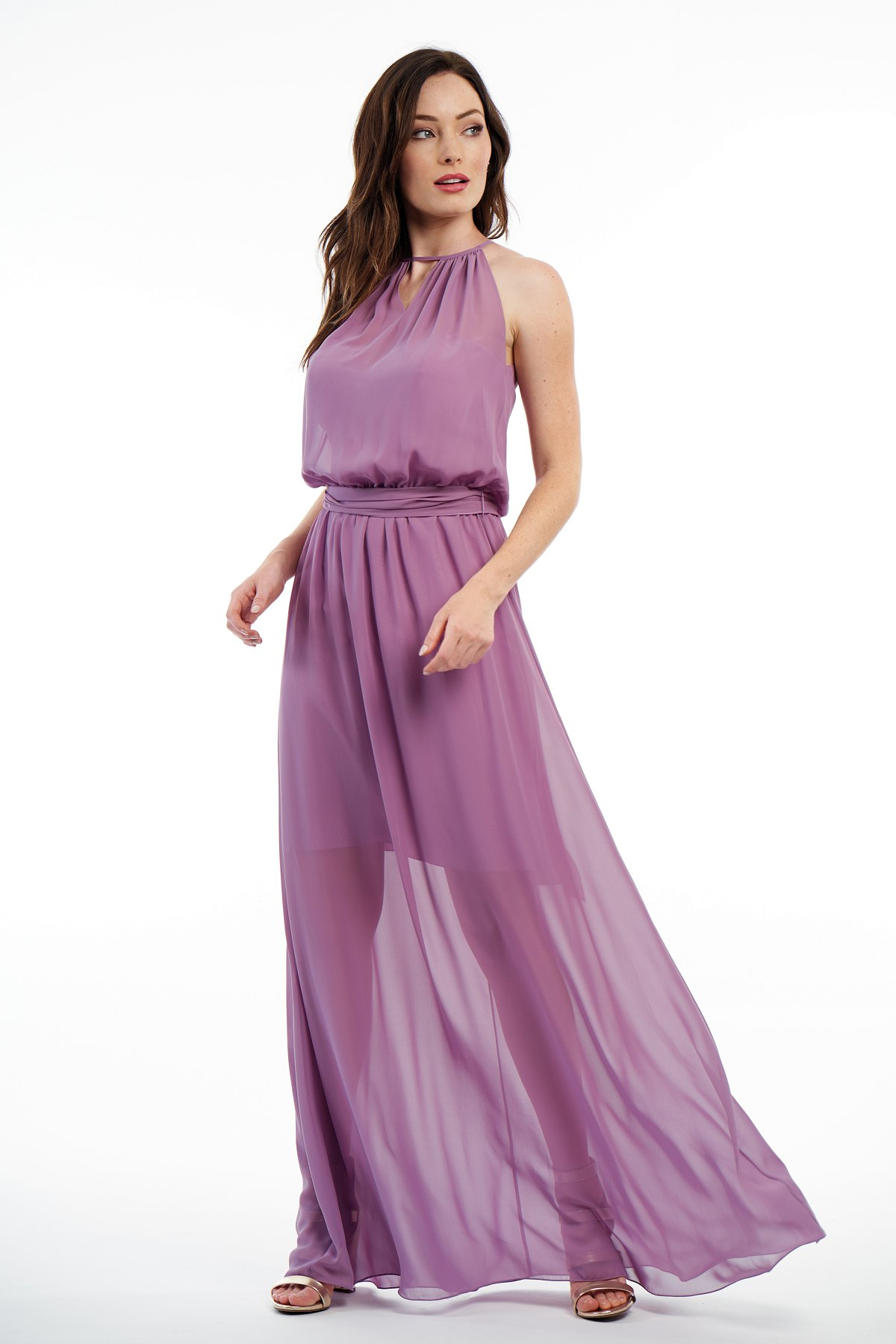 P216007 -  Gorgeous charlotte chiffon floor length bridesmaid dress with a keyhole high neckline and beautiful detailed gathers throughout the dress. A short base skirt underneath the flowy outer layer skirt and a belt that wraps around the waist to create a bow in the back.    Available in  41 colors