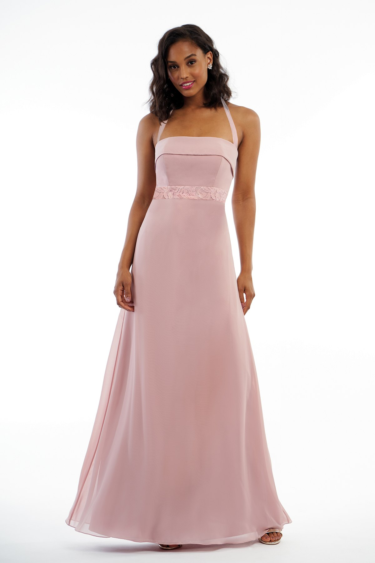 P216009 -  Pretty charlotte chiffon floor length bridesmaid dress with a straight neckline and halter straps that create a bow on the back. Detailed lace on the bodice to complete the look.    Available in 18 colors