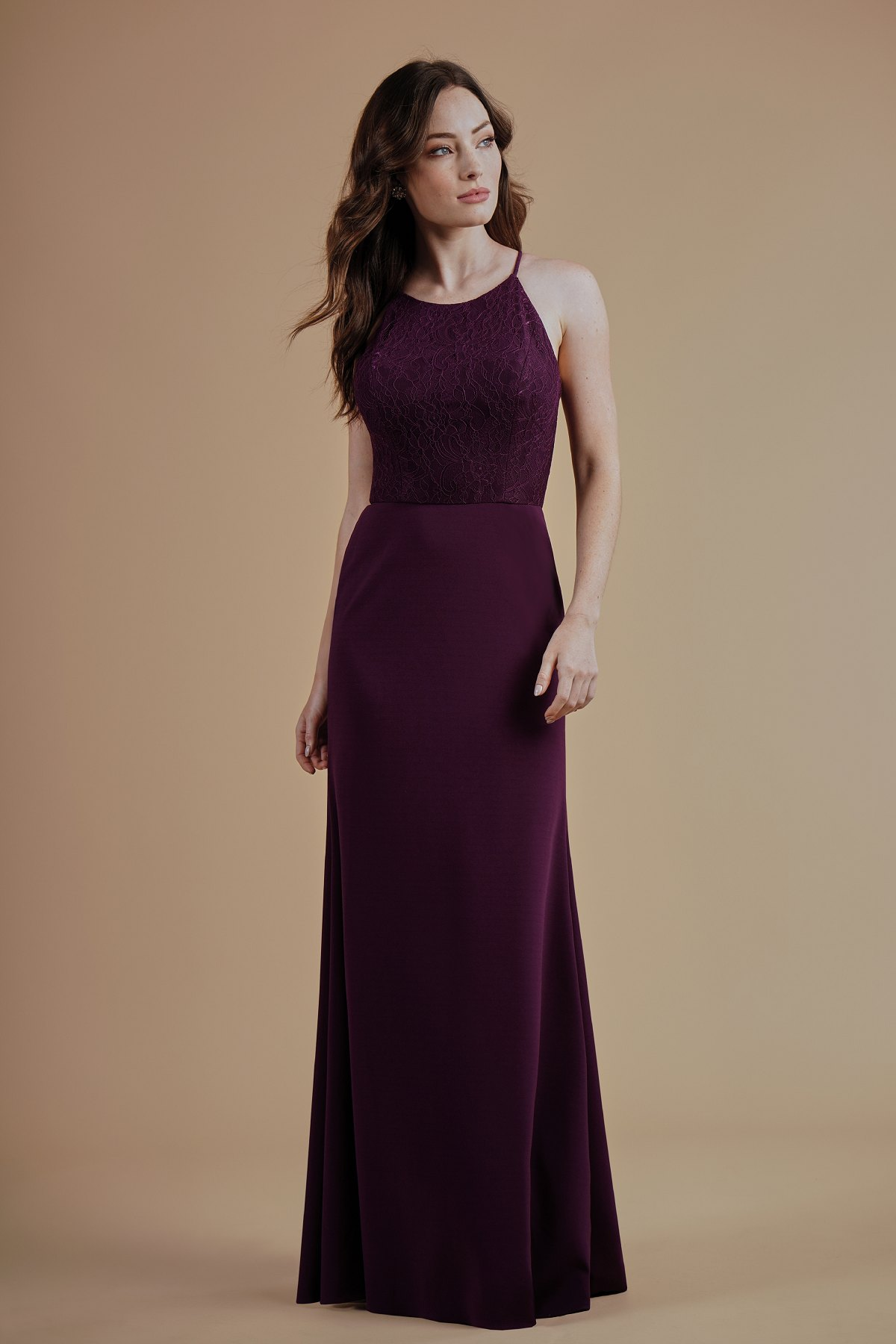 L214015 -  Simple lace and stretch crepe floor length bridesmaid dress with a jewel neckline and high neck back. This simple, pretty bridesmaid dress is perfect for a minimalist wedding.    Available in 21 colors