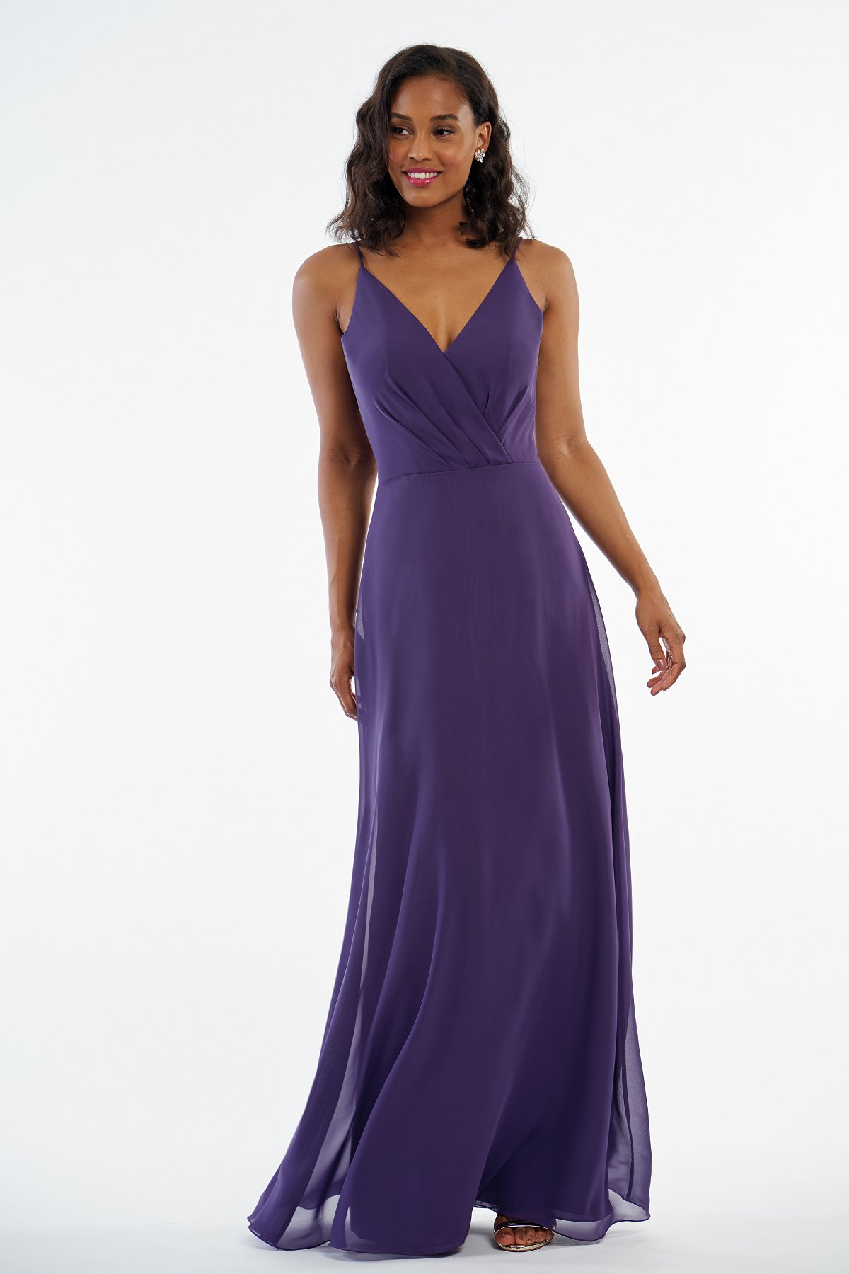 P216002 -  Pretty charlotte chiffon floor length bridesmaid dress with a flattering V-neckline, detailed gathers on the bodice, and a flowy skirt to complete the look    Available in 41 colors