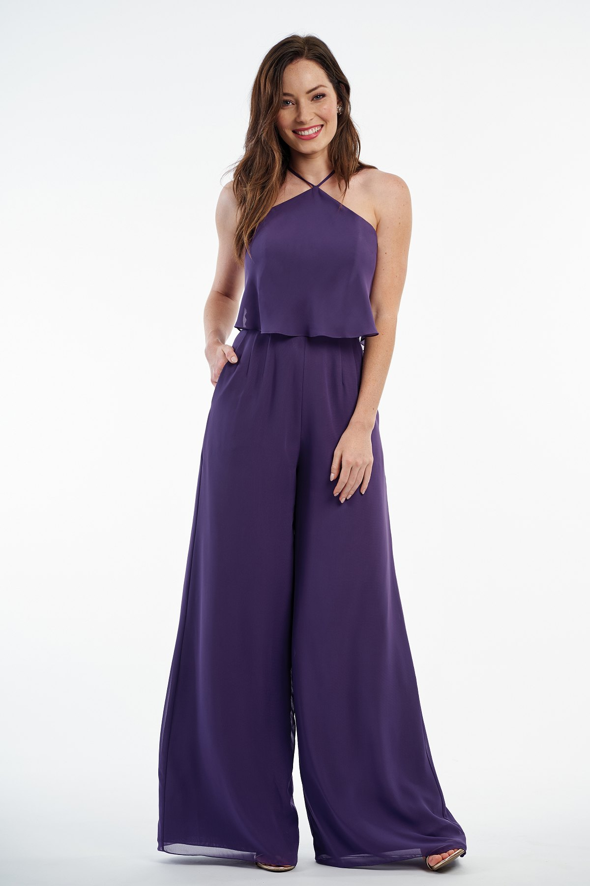 P216003 -  Beautiful charlotte chiffon long pant suit with a high neckline, layered bodice, and side pockets on the bottom to complete the look.  Special Detail: Pockets    Available in 41 colors