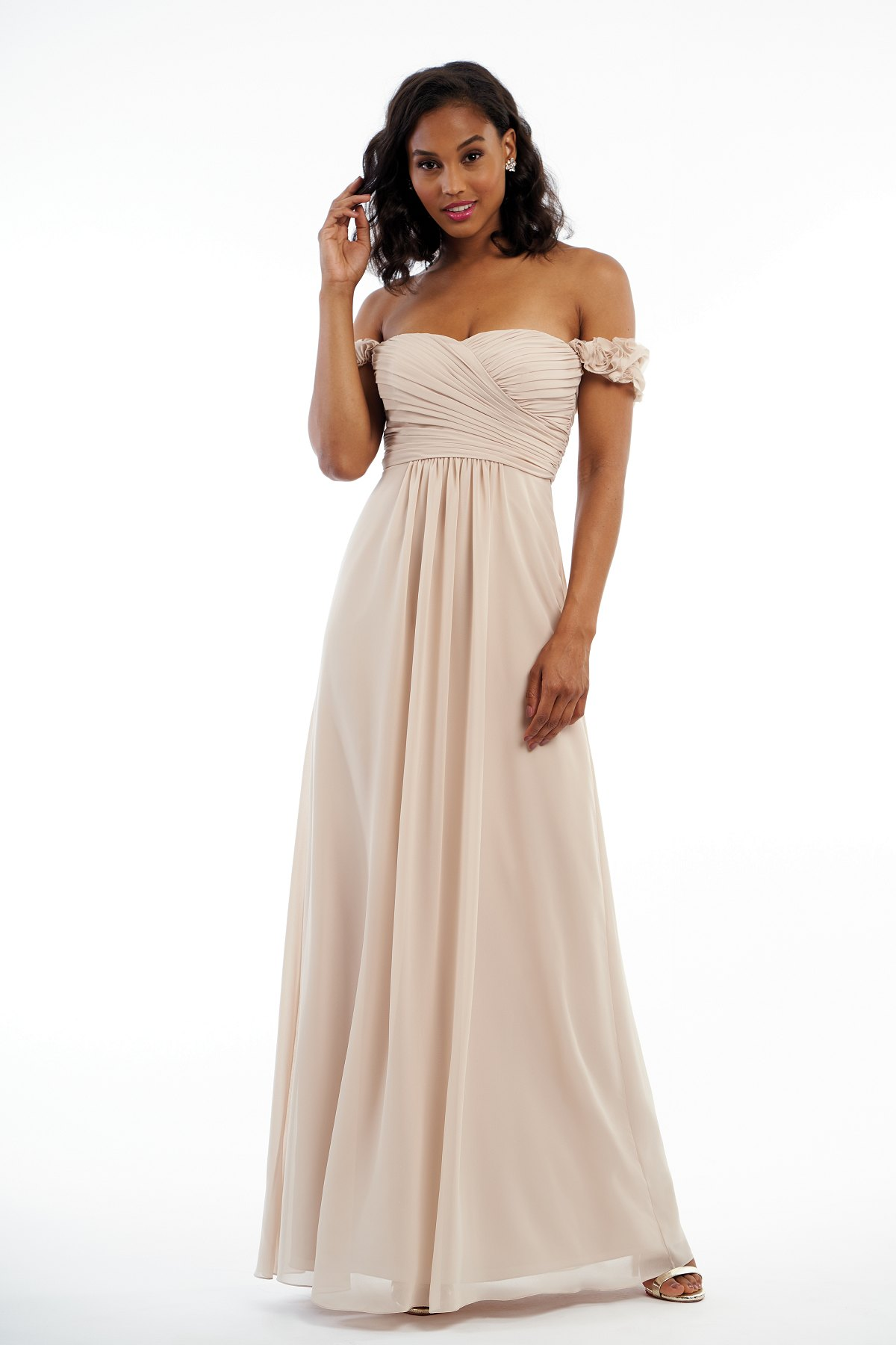 P216004 -  Pretty charlotte chiffon floor length bridesmaid dress with a sweetheart neckline. Textured thick straps that wrap around each arm and detailed gathers throughout the dress to complete the look.    Available in 41 colors